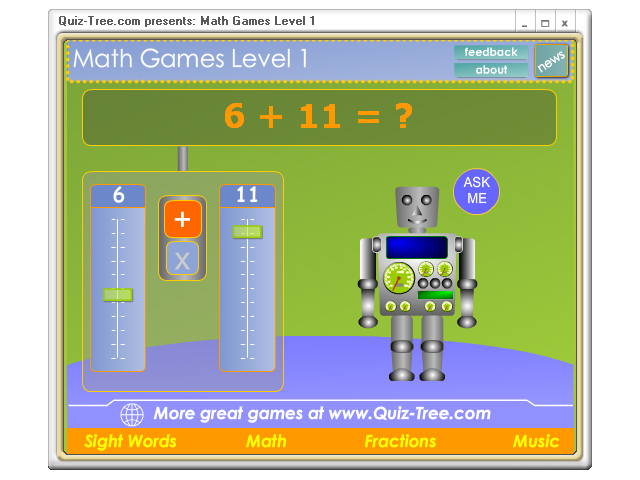 Click to view Math Games Level 1.0 screenshot