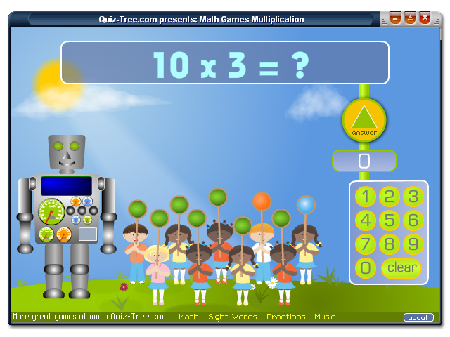 Practice multiplication (numbers 1 - 10) with the smart robot and his friends.